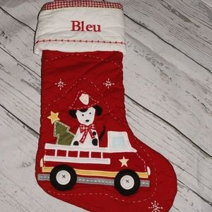 Pottery Barn Quilted Stocking Dalmation 'Bleu'